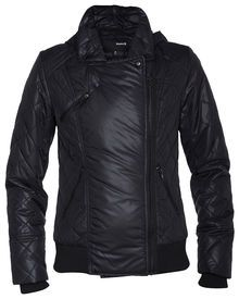 • Moto style quilted puffer jacket with hood   • 100% Nylon with light...