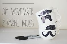 PS : ♡: diy : movember sharpie mugs