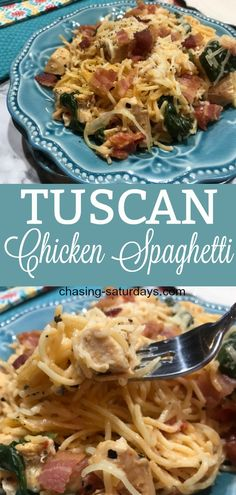 If you love pasta, Tuscan Chicken Spaghetti is a great one-pan dinner. It is a creamy and flavorful meal, you will want to make again! This is a great recipe when you have company over! #chickenspaghetti #tuscan #bacon #spinach #pasta #onepotmeal #easymeal #easyrecipe #tomatoes #chasingsaturdays