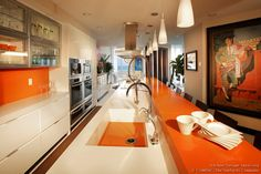 [ Modern Galley Kitchen White Orange Quartz Countertops Island Table Tv Lift Built Island Countertop ] - Best Free Home Design Idea & Inspiration White Kitchen Counters, Best Kitchen Cabinets, Kitchen Cabinet Design, Kitchen Countertops, New Kitchen, Long Kitchen, Kitchen Ideas, Kitchen White, Kitchen Redo