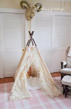 Bohemian Teepee: I am putting this in my future child's bedroom, boy or girl :) Minus the sheep head though...
