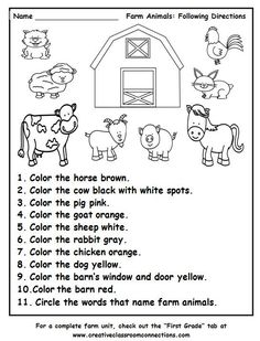 Farm Animals Following Directions worksheet provides practice with color words and the names of farm animals. Find a complete Farm Unit at http://www.creativeclassroomconnections.com.