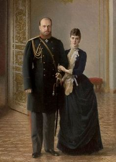 """Maria Feodorovna and Alexander III - During Alexander's reign Russia fought no major wars, for which he was styled """"The Peacemaker"""" - He had a happy marriage to Maria Feodorovna and - get this - did not commit adultery! Bravo!"""