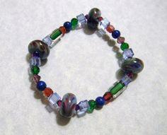 Art Glass Lampwork Bead, Crystal, Glass and Furnace Bead Stretch Bracelet
