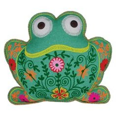 Embroidered Frog Pillow.
