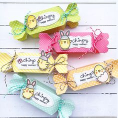Lawn Fawn Easter Treat Boxes by anuyami (using Chirpy Chirp Chirp, Candy Box, Stitched Labels, Let's Polka in the Meadow)