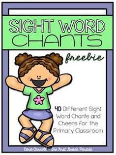 Word Chants & Cheers Freebie FREE - chants and cheers to learn and practice sight words. From Cara Carroll at First Grade ParadeFREE - chants and cheers to learn and practice sight words. From Cara Carroll at First Grade Parade Teaching Sight Words, Sight Word Practice, Sight Word Games, Sight Word Activities, Sight Word Song, Preschool Activities, Fluency Activities, Literacy Activities, The Words