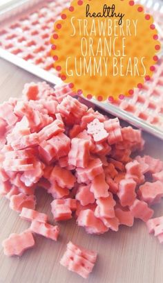 Healthy Strawberry Orange Gummy – The healthiest gummy bears you will ever eat. // via Undressed Skeleton Yummy Recipes, Baby Food Recipes, Snack Recipes, Dessert Recipes, Yummy Food, Desserts, Protein Recipes, Detox Recipes, Recipies