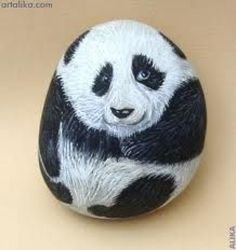 Hand-Painted Panda Rock
