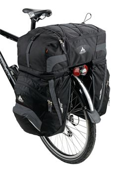 Vaude Karakorum - A 68 liter combination pack set for bicycle touring, with detachable daypack. Touring Bicycles, Touring Bike, Fat Bike, Powered Bicycle, Bike Trailer, Cargo Bike, Bike Rack, Bike Accessories, Bike Life