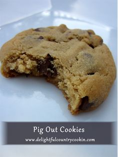 pig-out cookies - These are seriously good.  Texture like Soft Batch cookies, sweet and salty.  Ingredients include bacon, bacon grease, peanut butter, chocolate chips, and chili powder.