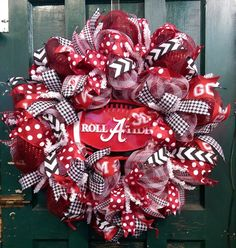 Roll Tide Wreath Alabama Wreath University of Alabama Wreath Roll Tide Football Wreath  Alabama Football Wreath Crimson Tide Wreath by WhimsyWreathsDesigns on Etsy