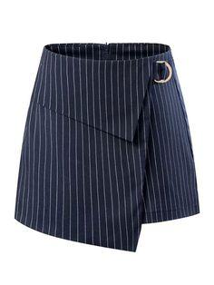 Blue Stripe Asymmetric Hem High Waist Wrap Skorts