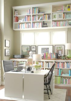 Loving the two desks back to back and the built in shelving! And come on in natural light! Mini Manor Blog