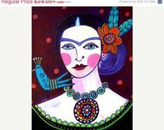 50% de descuento Folk mexicano Frida Kahlo por HeatherGallerArt