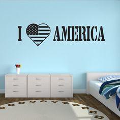 I Love America Wall Decal - Vinyl Decal - Car Decal - CF001