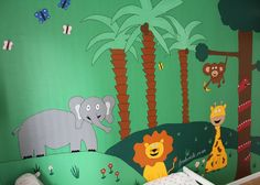 Jungle room, jungel, lion, elephant, giraffe, monkey, snake, palms, palm tree, butterfly, kids room, childrens, unisex