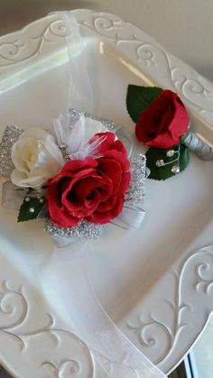 Prom Wrist Corsage Set Red and Silver with by SterlingCottageShop