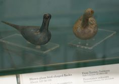 Blown glass birds from Xanten Germany