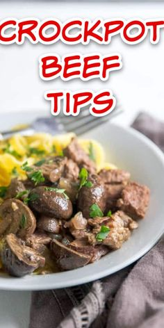 Crockpot beef tips are cooked in a succulent sauce that drips perfectly over hot cooked noodles! #beef #crockpot #slowcooker #comfortfood #easyrecipe #familyfriendly #easybeefrecipe Beef Tips, Beef Recipes, Grilled Prime Rib, Steak Roll Ups, Ribeye Roast, Slow Cooker Italian Beef, Beef Goulash, Comfortfood, Noodles