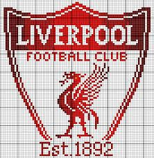 Liverpool FC Basics: This piece measures squares. I find it best to cut the fabric at least three inches larger than the design, and at least five inches larger if you're using a Q-Snap frame. Design size on: 14 ct: 6 inches wide and 6 inches hi Manchester City Logo, Liverpool Logo, Liverpool Football Club, Liverpool Bird, Cross Stitching, Cross Stitch Embroidery, Embroidery Patterns, Fc Bacelona, Logo Club