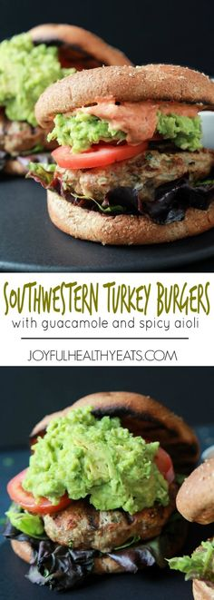 Healthy juicy Southwestern Turkey Burgers stuffed with lettuce, tomato, a simple guacamole, and a Spicy Aioli made with Piquillo Peppers and Chipotle Peppers! The ultimate Turkey Burger recipe your family will love - just  20 minutes!   joyfulhealthyeats.com #recipes #grill: