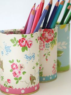 ♥ Covered in Kath Kidston note paper, a pretty way to display pencils
