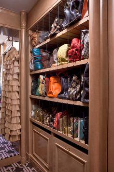 genius handbag storage in Kelly Wearstler's closet