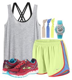 """""""wearing this to xc tomorrow//these shoes are REALLY good for running!"""" by judebellar03 ❤ liked on Polyvore featuring Patagonia, H&M, NIKE, Brooks, Splendid and Timex"""