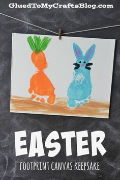 40 Simple Easter Crafts for Kids - Easter Footprint Canvas Keepsake Kids Crafts, Daycare Crafts, Baby Crafts, Toddler Crafts, Preschool Crafts, Toddler Art, Daycare Ideas, Spring Crafts, Holiday Crafts