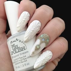 3D Porcelain Design with Jeweled Accent Nail   Ten Little Canvases