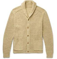 Polo Ralph Lauren Shawl-collar Cotton And Linen-blend Cardigan Mens Shawl Collar Cardigan, Polo Ralph Lauren, Heavy Jacket, Knitting Designs, Pulls, Knitwear, Menswear, Casual, Cotton