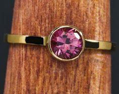 Pink Tourmaline 14kt Gold  Birthstone Stacking by janeysjewels, $249.95