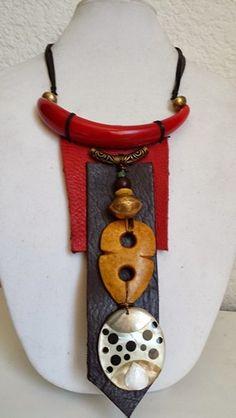 Tassel Jewelry, Textile Jewelry, Fabric Jewelry, Wooden Jewelry, Clay Jewelry, Beaded Jewelry, Jewellery, Leather Necklace, Leather Jewelry