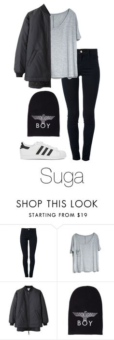 """Suga Inspired w/ Adidas"" by btsoutfits ❤ liked on Polyvore featuring STELLA McCARTNEY, BOY London, adidas Originals, women's clothing, women, female, woman, misses and juniors"