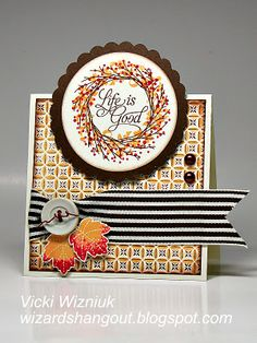 Another card by Vicki Wizniuk. Once again LOVE this CTMH Remarkable Wreath stamp set.