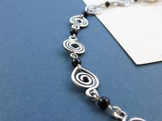 Silver Spiral Bracelet with Onyx Beads  Sorceress'