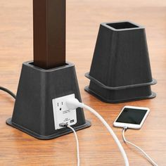 Mainstays Bed Risers with USB Power Ports Image 2 of 3 Tall Bed Risers, Dorm Bed Risers, Dorm Couch, Dorm Room Bedding, Home Design, Bed Raisers, Dorm Room Accessories, Bed Lifts, Bed With Posts