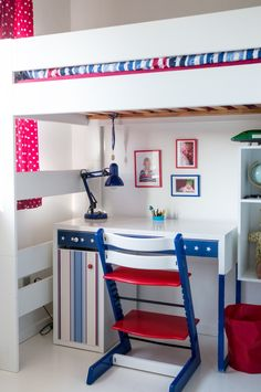 repainted Stokke Tripp Trapp and DIY details on IKEA desk make this tiny room special