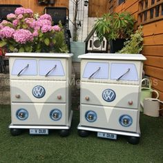Set of 2 Vintage Retro VW Camper Van Style Chest of Drawers Bedside Tables POSTAGE AVAILABLEin Poole, DorsetGumtree Matching Pair of Unique upcycled Solid Pine chest of drawers. Hand painted in a lovely neutral light grey colour to fit in with most decors. Made to look like vintage retro VW Campervans. Each drawer is lined with retro camper van paper. Each unit...