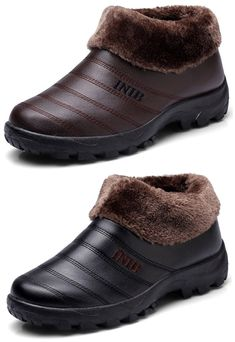 US$20.65 Men Old Peking Style Warm Plush Lining Slip On Home Shoes#boots, #winter