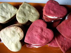 Red Velvet Cream Cheese Frosting and Green Tea Red Bean Paste Heart Sandwich Cookies from Not Eating Out in New York. WOW, can we Heart Attack!