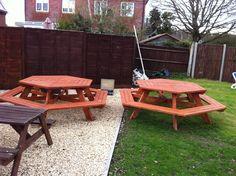 DIY Wooden hexagonal picnic benches