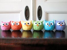 #Rainbow #Knitted #Owls