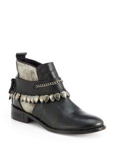 FREDA SALVADOR - Star Leather Studded-Fringe Welt Ankle Boots - Saks.com