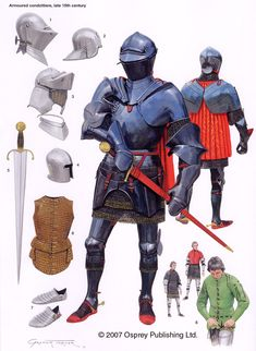 Armoured Condottieri c 1480. Where the renaissance began, where the Italians were so busy indulging in the arts , sciences and the good life, they didn't have time to fight their own internecine battles and hired mercenaries from all over Europe, who they provided with the latest in Italian armour design.