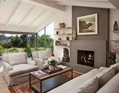 Click Pic For 25 Living Room Decorating Ideas Feature Wall With Open Shelves And Dark Grey Fireplace Inspiration Ideas