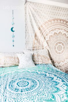 ☆ Code: LADYSCORPIOPIN save 15% off all orders $25 or more at checkout | Boho Bedroom Inspiration | Mandala Tapestry / Duvet | Moon Phases Wall Hanging Decor $20 by Lady Scorpio | Shop Now LadyScorpio101.com | @LadyScorpio101 | Photography by Stephanie Renfro @StephRenfro | Boho Bedroom Inspiration.