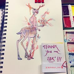 """When I was a fawn, I spent all my time waiting for spring to come home again. "" Aaaaaaahhhhhhhhhhhhhh!!! Thank you all so very much for you support!! Fish will continue to work hard to make more art that is enjoyable to everyone! ٩(●˙▿˙●)۶٩(●˙▿˙●)۶٩(●˙▿˙●)۶"