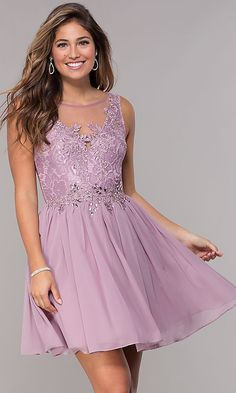 cd967d6f032 Lace-Bodice Short Chiffon Homecoming Dress